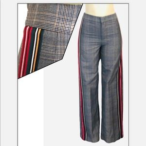 ZARA GRAY PLAID TROUSERS RED RACER STRIPE …